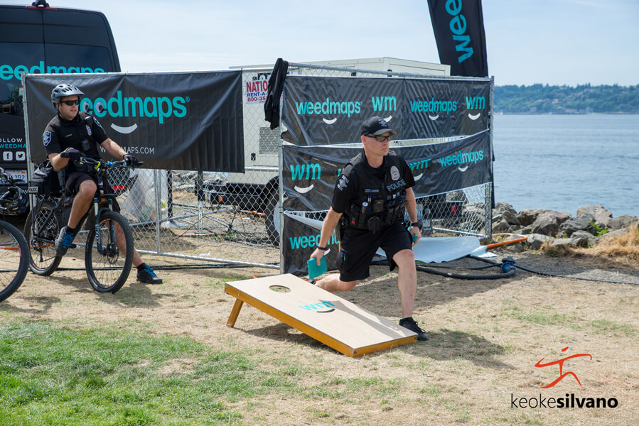 Cops play bags at Hempfest