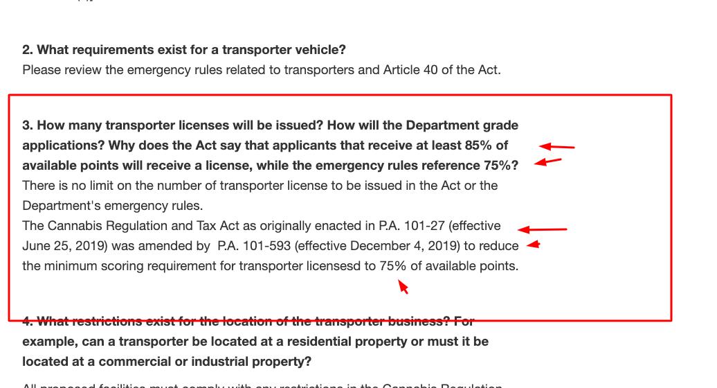 Enmienda de Transporter Points - departamento de agricultura de Illinois